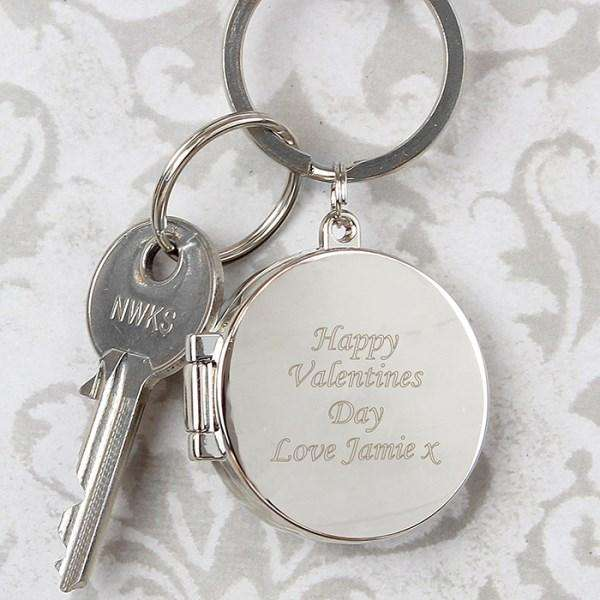 Personalised Round Photo Locket Keyring from Pukkagifts.uk