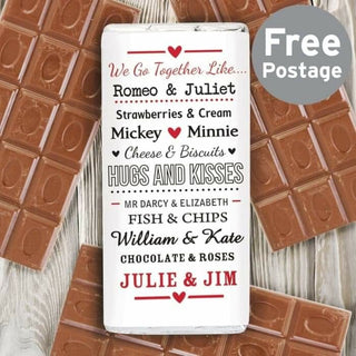 Personalised We Go Together Like Milk Chocolate Bar from Pukkagifts.uk