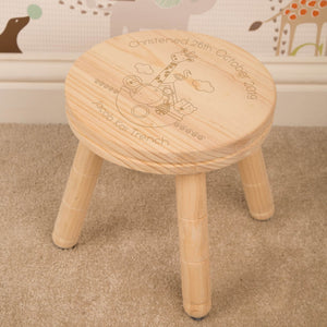 Personalised Children's Laser Engraved Noahs Ark Wooden Stool