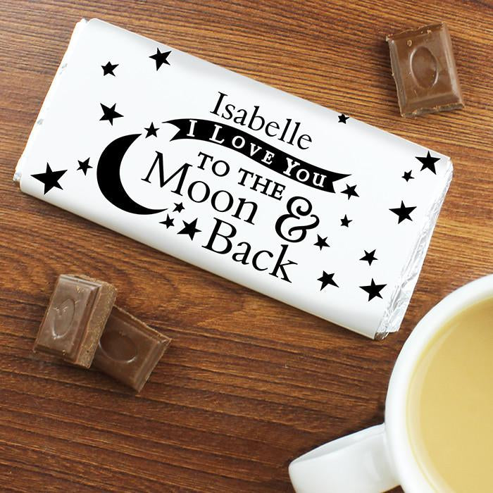 Personalised I Love You To The Moon And Back Milk Chocolate Bar from Pukkagifts.uk