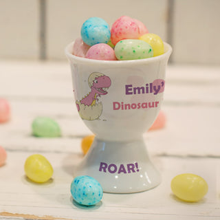 Personalised Pink Dinosaur Egg Cup from Pukkagifts.uk