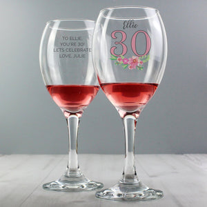 Personalised Birthday Age Floral Wine Glass
