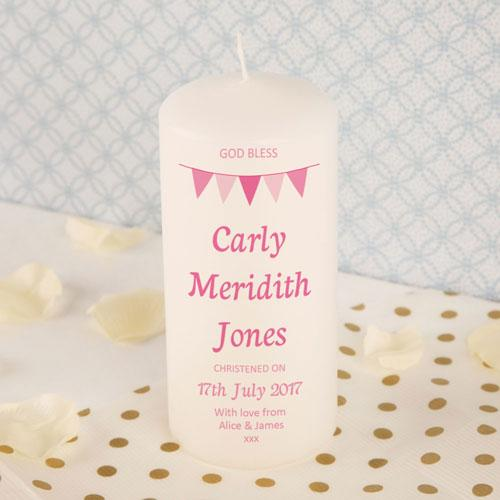 Personalised Pink Bunting Christening Candle