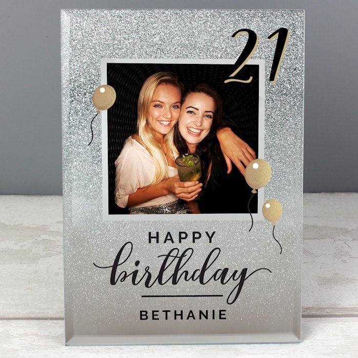 Personalised 21st Birthday Glitter Glass Photo Frame 4x4 from Pukkagifts.uk