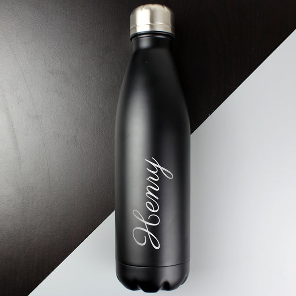 Personalised Black Metal Insulated Drinks Bottle