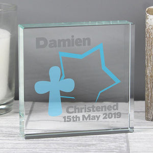 Personalised Star Cross Large Crystal Token