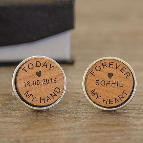 Engraved Today My Hand Forever My Heart Cufflinks from Pukkagifts.uk