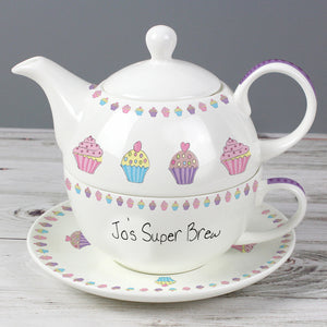 Personalised Cupcake Teapot Tea for One