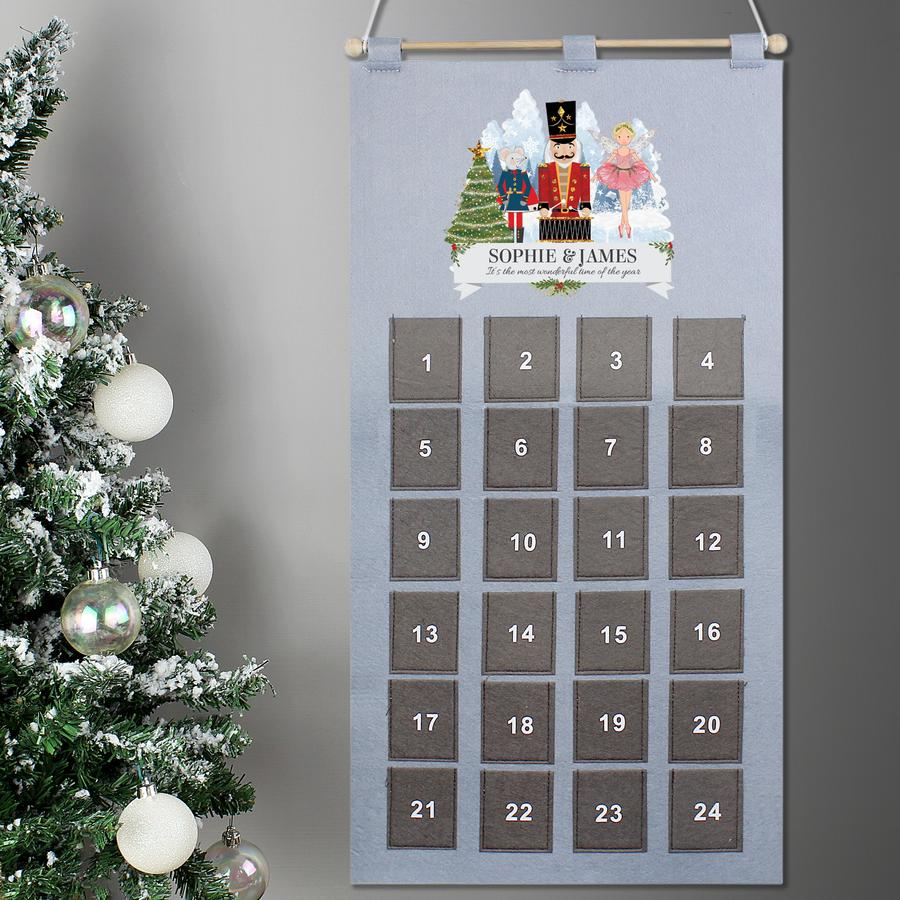 Personalised Pocket Nutcracker Felt Advent Calendar In Silver Grey