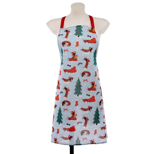 Poly Cotton Apron - Christmas Dachshund Through The Snow
