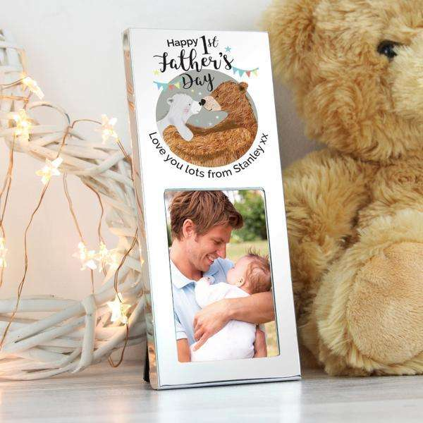 Personalised 1st Father's Day Daddy Bear Photo frame 2x3 from Pukkagifts.uk
