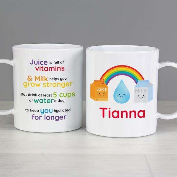 Personalised Kids Healthy Eating Plastic Mug from Pukkagifts.uk