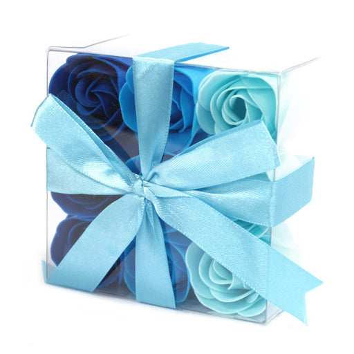 Set of 9 Soap Flowers - Blue Roses from Pukkagifts.uk