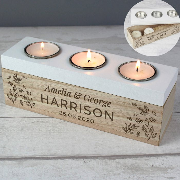 Personalised Floral Triple Tea Light Box from Pukkagifts.uk