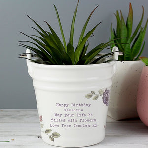 Personalised Secret Garden Porcelain Bucket from Pukkagifts.uk
