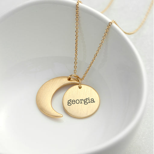 Personalised Matt Gold Moon and Sun Necklace