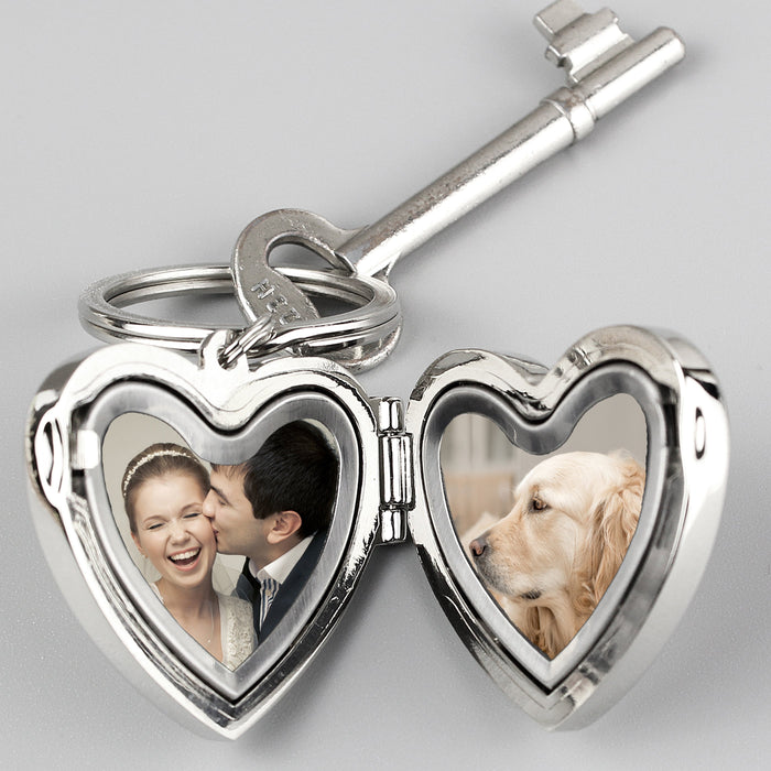 Personalised Heart Photo Locket Keyring