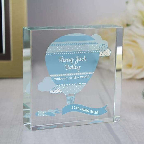 Personalised Up & Away Baby Boy Large Crystal Token from Pukkagifts.uk