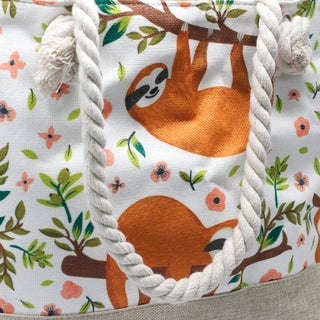 Sloths Design Beach Rope Handle Tote Bag