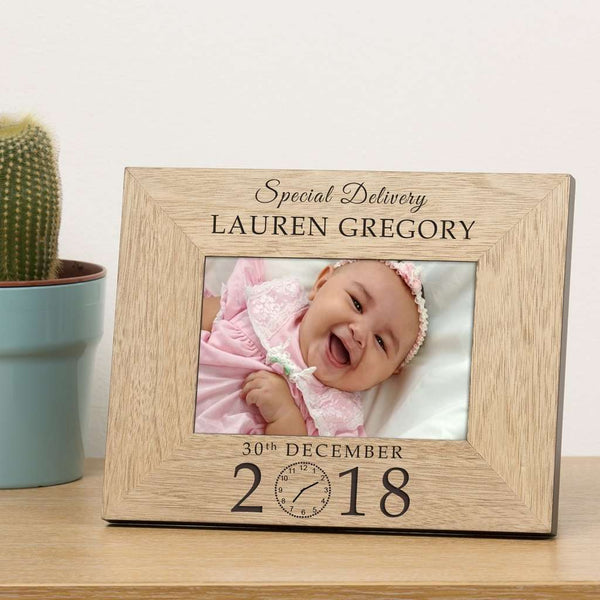 Special Delivery New Baby Personalised Wooden Photo Frame 6x4 from Pukkagifts.uk