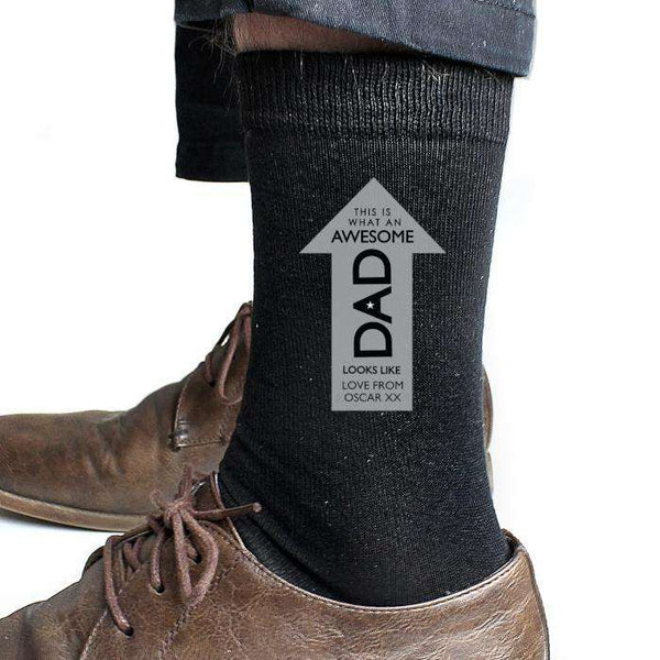 Personalised Awesome Dad Men's Socks from Pukkagifts.uk