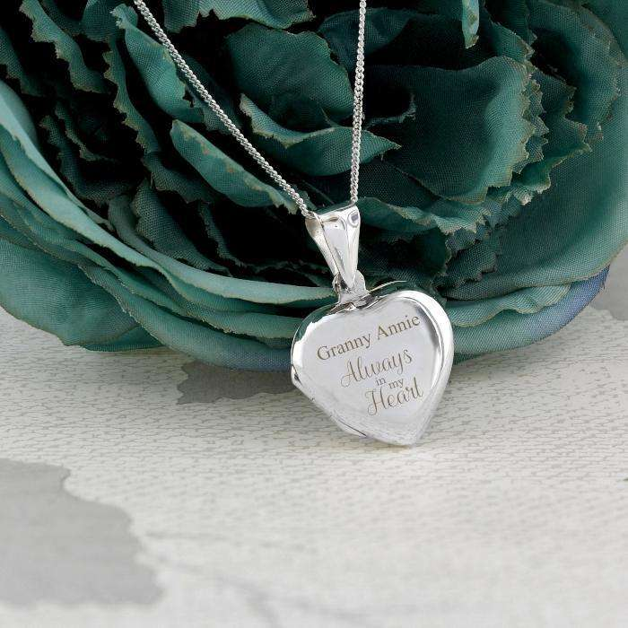 Personalised Sterling Silver 'Always' Heart Locket Necklace from Pukkagifts.uk