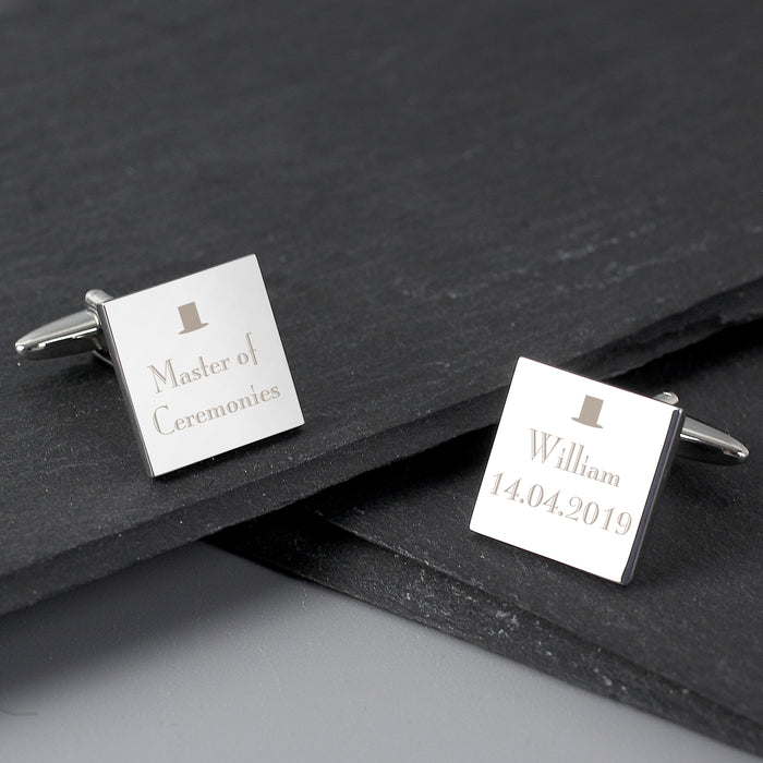 Personalised Wedding Any Role Square Cufflinks