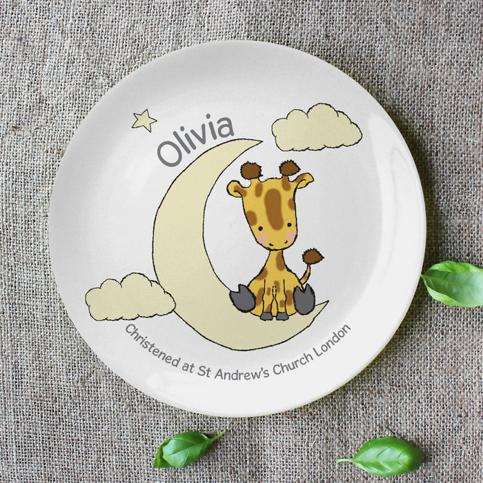 "Personalised Sweet Dreams Giraffe 8"" Plate from Pukkagifts.uk"