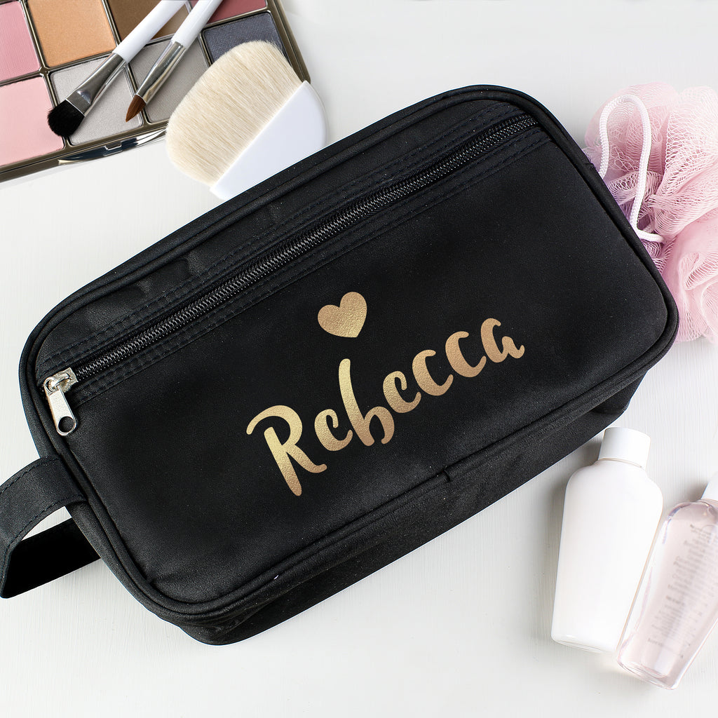 Personalised Gold Name Black Vanity Bag