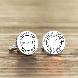 Personalised Father Of The Bride Walk Me Down The Aisle Cufflinks
