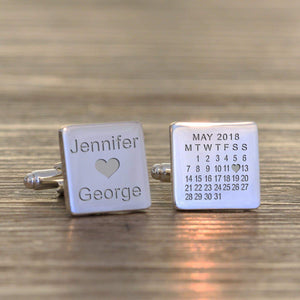 Personalised Special Date & Names Cufflinks from Pukkagifts.uk