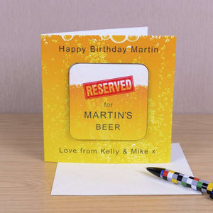 Personalised RESERVED for .... BEER Card With Coaster from Pukkagifts.uk