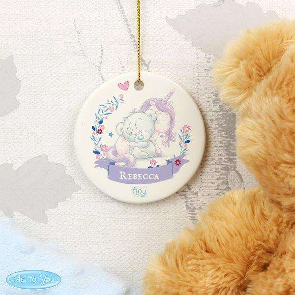 Personalised Tiny Tatty Teddy Unicorn Round Hanging Decoration from Pukkagifts.uk