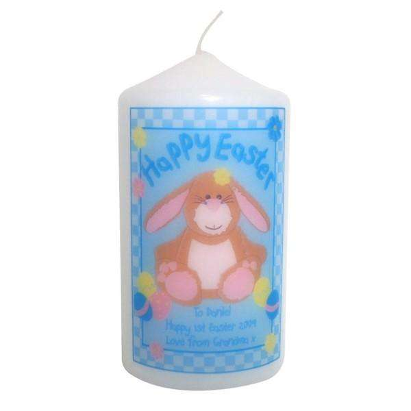 Personalised Happy Easter Bunny Candle from Pukkagifts.uk