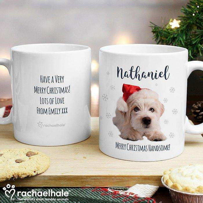 Personalised Rachael Hale Christmas Terrier Dog Mug from Pukkagifts.uk