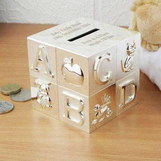 Personalised Engraved Silver Plated ABC Money Box from Pukkagifts.uk