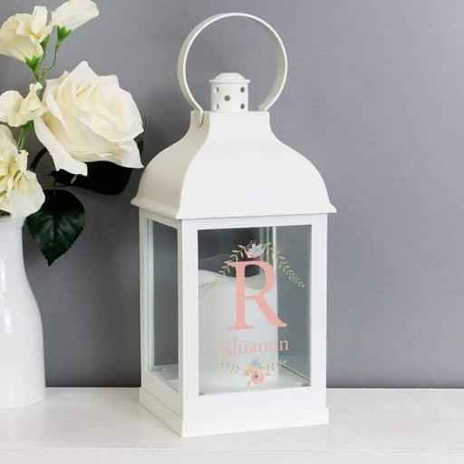 Personalised Floral Bouquet White Lantern from Pukkagifts.uk