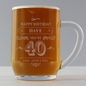 Personalised Birthday Age Vintage Typography Tankard Glass