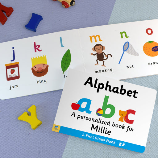 First Steps Alphabet Personalised Board Book from Pukkagifts.uk