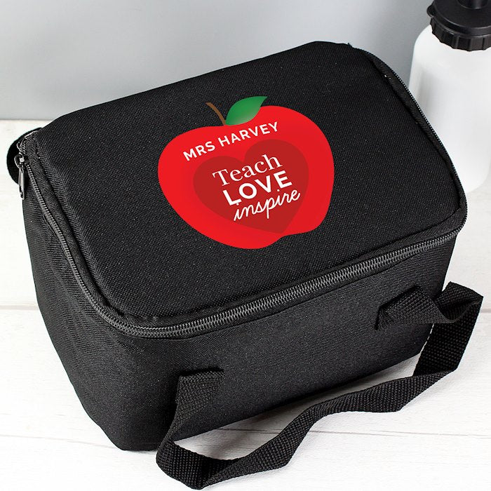 Personalised Teachers Apple Black Lunch Bag from Pukkagifts.uk