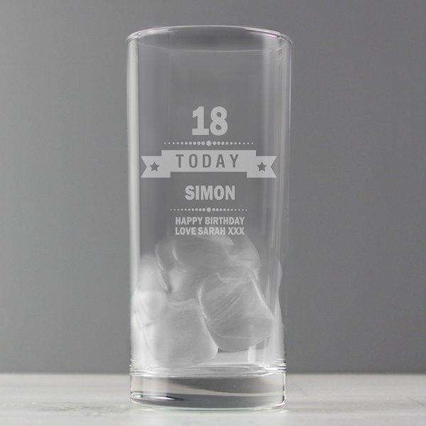 Personalised Birthday Age Hi Ball Glass from Pukkagifts.uk