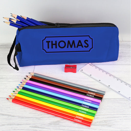 Personalised Blue Pencil Case with Pencils & Crayons