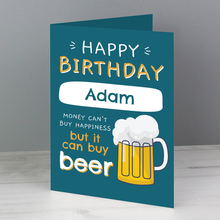Personalised Happy Birthday Beer Card - Free UK Delivery