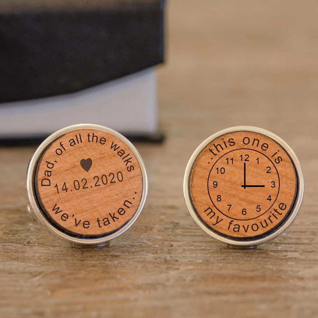 Personalised Dad Of All The Walks We've Taken Time Wedding Wooden Cufflinks from Pukkagifts.uk