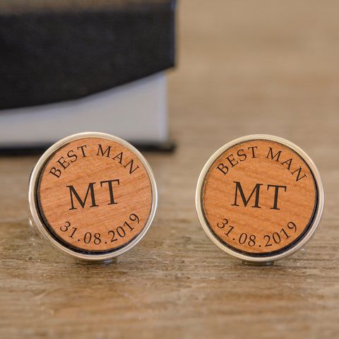 Personalised Best Man Wooden Cufflinks from Pukkagifts.uk
