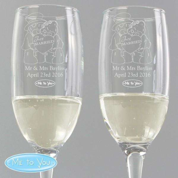Personalised Me To You Engraved Wedding Pair of Flutes with Gift Box from Pukkagifts.uk