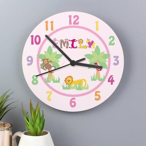 Personalised Animal Alphabet Girls Wooden Clock from Pukkagifts.uk