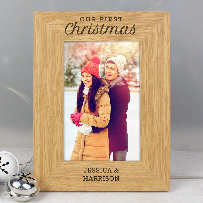 Personalised 'Our First Christmas' 6x4 Oak Finish Photo Frame