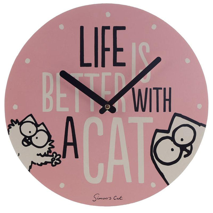 Simon's Cat Slogan Wall Clock