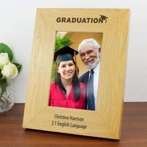 Personalised Oak Finish Graduation Photo Frame 4x6 from Pukkagifts.uk